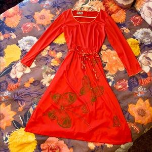 Vintage Shaheen Red Dress